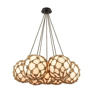 Luminaire suspendu, finition bronze huilé avec corde et verre opalin, 7 X A19