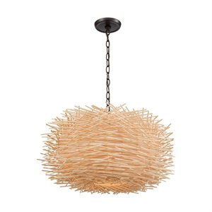 Luminaire suspendu, finition bronze brossé huilé et bâtons de bamboo, 3 X A19