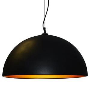Luminaire suspendu, finition noire et or, 3 X A19
