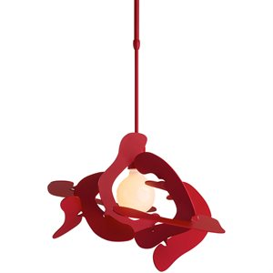 Luminaire suspendu, finition rouge satiné, 1 X A19