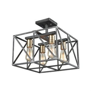 Ceiling flush-mount, satin brass and steel finish, 4 X A19
