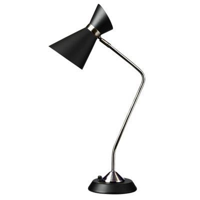Lampe de lecture, finition noir mat et chrome poli, 1 X A19