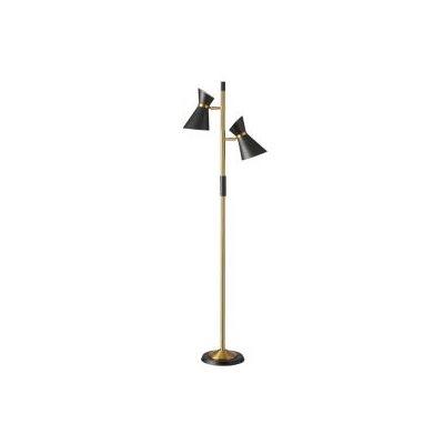 Lampe de plancher, finition noir mat et dorée, 2 X A19