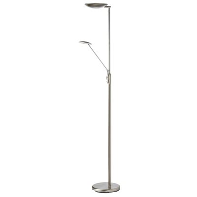 Lampe de plancher, DEL, finition chrome satiné, 33 watts, 3000K