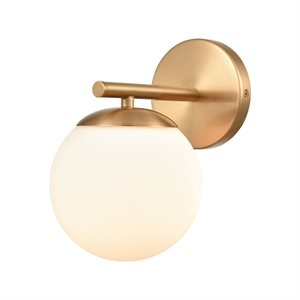 Wall light, satin brass finish with opal withe glass, 1 X Torpedo