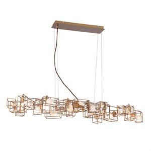 Luminaire suspendu, finition dorée, 6 X B11