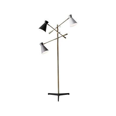 Lampe de plancher, finition laiton antique, 3 X A19