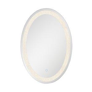Miroir éclairé DEL, finition chrome, 31 watts