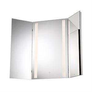 Miroir éclairé DEL, finition chrome, 36 watts