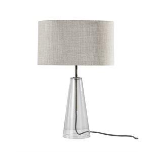 Lampe de table, finition acier brossé et verre, 1 X A19