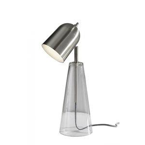 Lampe de table DEL, finition acier brossé et verre, 7 watts, 3000K