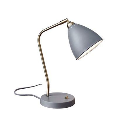 Lampe de table, finition grise, 1X A15