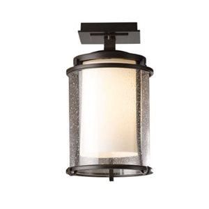 Semi-plafonnier extérieur, finition natural iron et verre clair, 1X A19