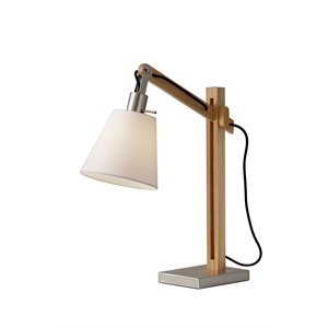 Lampe de table, finition bois, 1 X A19