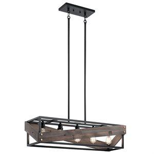 Luminaire suspendu linéaire, finition noir peint, 5 X A19