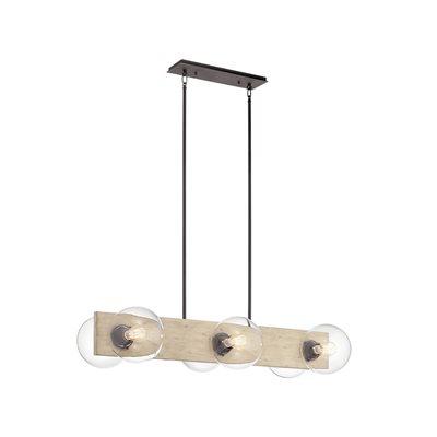 Luminaire suspendu linéaire, finition bois, 6 X ST19