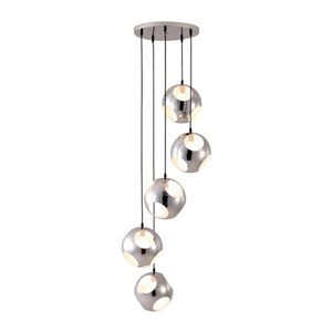Luminaire suspendu, finition chrome, 5 X G40
