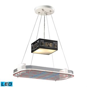 LED suspension, silver finish with an Hockey Arena, 2 X A19 LED