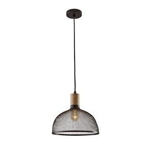 Luminaire suspendu, finition noir mat et bois naturel, 1 X A19