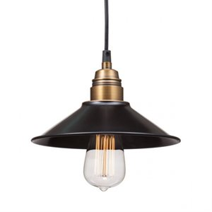 Luminaire suspendu, finition noire et cuivre, 1 X E26