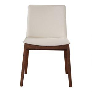 Chaise, finition blanche et bois