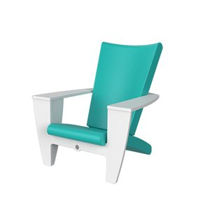 Exterior chair, turquoise and white finish