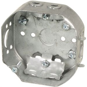 1 1 / 2'' DEEP OCTAGONAL BOX FOR CEILING WITH CABLE CLAMP