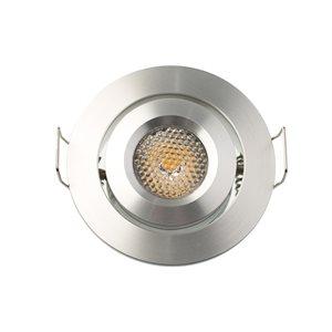 Encastré orientable DEL, finition aluminium, 3 watts, 45 degrés