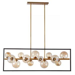Luminaire suspendu linéaire, finition noir mat et bronze vintage, 13 X culot G9