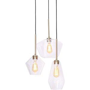 Luminaire suspendu, finition doré et verre claire, 3 X A19