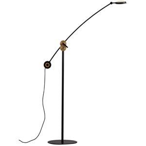 Lampe de plancher DEL, finition noire et cuivre, 8.6 watts, 3000K