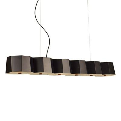Luminaire suspendu, finition noire, 6 X A19