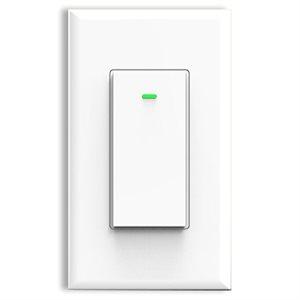 Smart WiFi wall switch, white matte finish, 600 watts