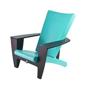 Exterior chair, turquoise and black finish